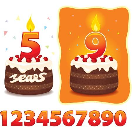 tarte aux cerises: G�teau avec des bougies et des num�ros Illustration