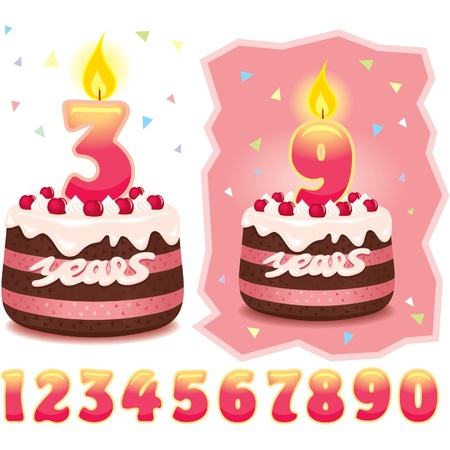 Cake with Candles and Numbers Stock Vector - 11185423