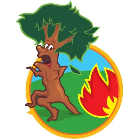 bosbrand: Scared Tree Gestart vanuit Fire Stock Illustratie