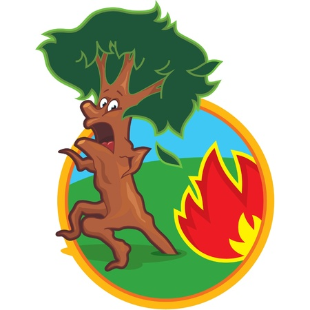 fear illustration: Scared Tree Running from Fire