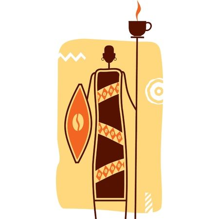 primitive: African Warrior with Cup of Coffee on Spear Illustration