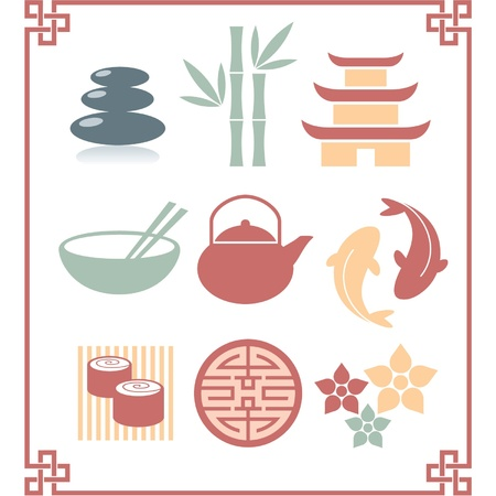 chinese bowl: Set of Oriental Zen Icons