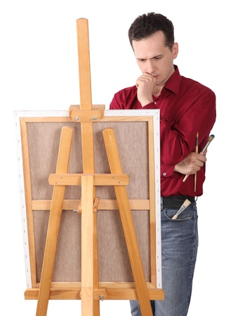 Artist by the Easel Looking for Inspiration