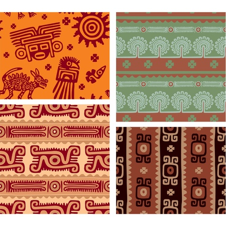 Set of Mexican Seamless Tiles with Authentic Art Elements Vector