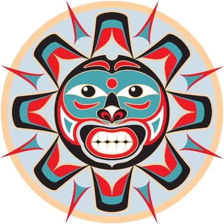 indio americano: Sol en el estilo americano nativo Vectores