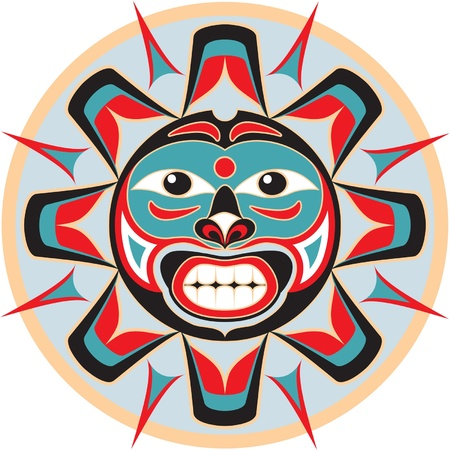 native indian: Sun in Native American Style Illustration