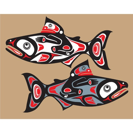salmon fish: Fish - Salmon - Native American Style Illustration