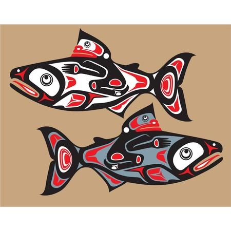native indian: Pescado - Salm�n - estilo nativo americano