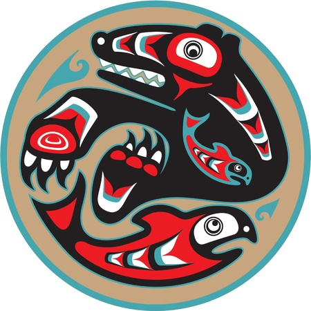 native indian: Bear Catching Salmon - Native American Style Vector
