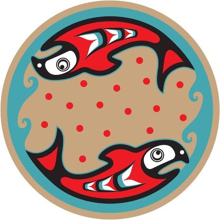 spawning: Desove del salm�n - Vector estilo nativo americano Vectores