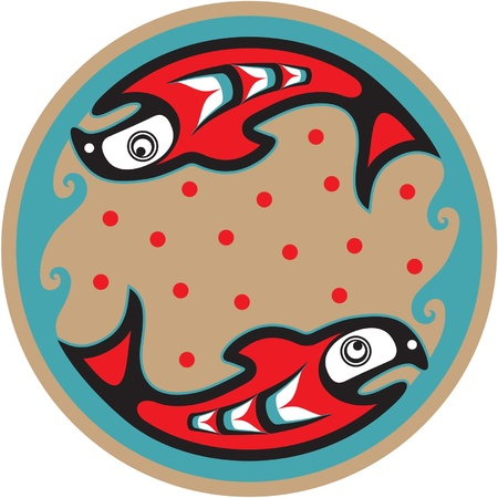indian fish: Spawning Salmon - Native American Style Vector Illustration