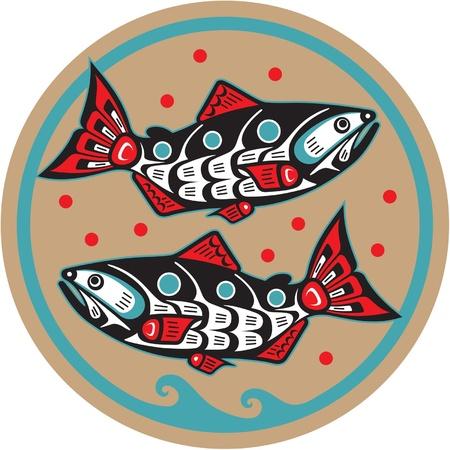 indio americano: Desove del salmón - Vector estilo nativo americano Vectores