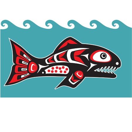 Fish -Salmon - Native American Style Vector Vector