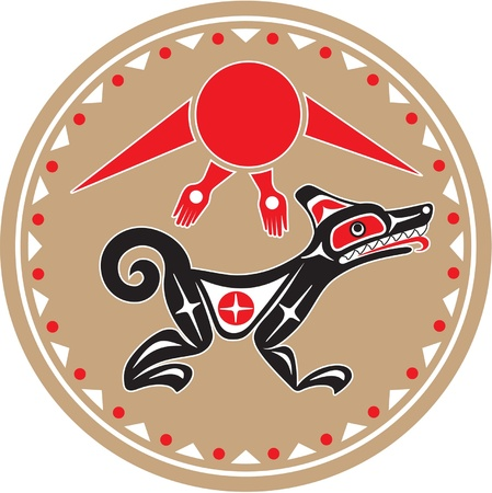 tribu: Wolf - Coyote - Vector estilo nativo americano