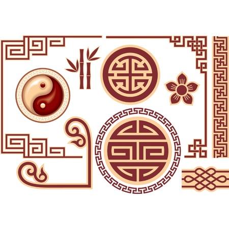 結び目: 東洋の中国のデザイン要素のベクトルを設定