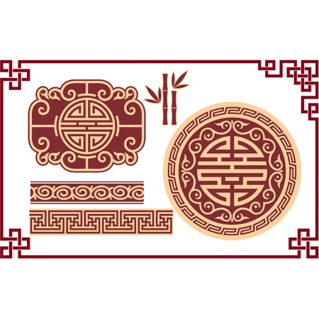 bamboo border: Vector Set of Oriental Chinese Design Elements  Illustration
