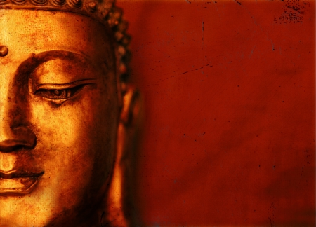 red head: Buddha Oriental Background