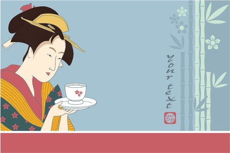 Japanese Geisha - Traditional Art Style Illustration Vector