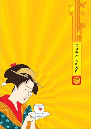 sushi: Japanse Geisha - Traditionele Art Style Illustratie