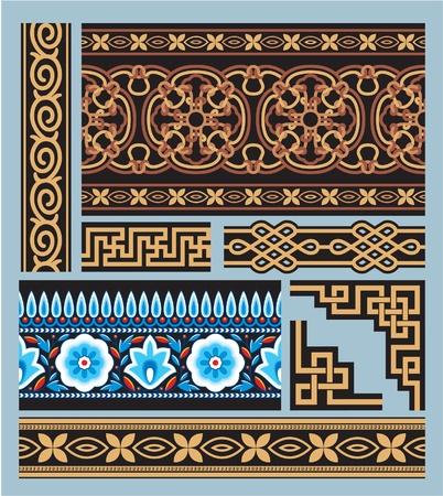 chinese pattern: Set of Seamless Borders