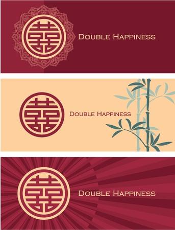 Juego de Banderas doble felicidad