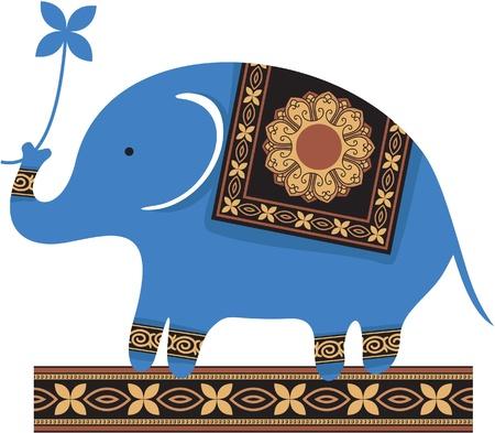 elefante: Lindo Blue Elephant Vectores