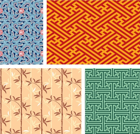 Set of Oriental Seamless Tiles  Ilustracja