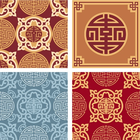 Set of Oriental Seamless Patterns with Design Element Vector