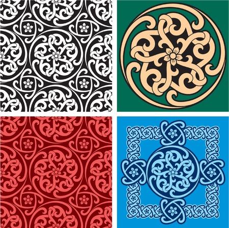 keltische muster: Set mit Seamless Patterns und Design Element Illustration
