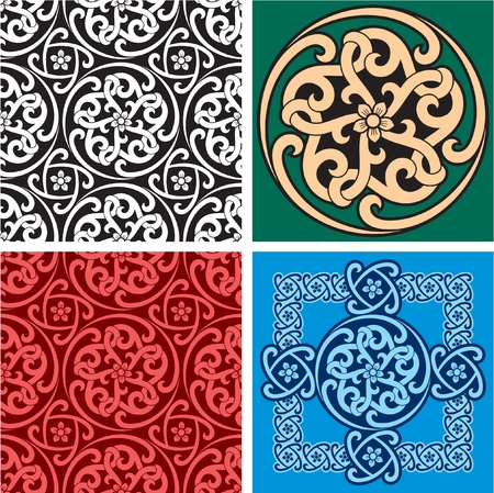 Set of Seamless Patterns and Design Element Stock Vector - 12391154
