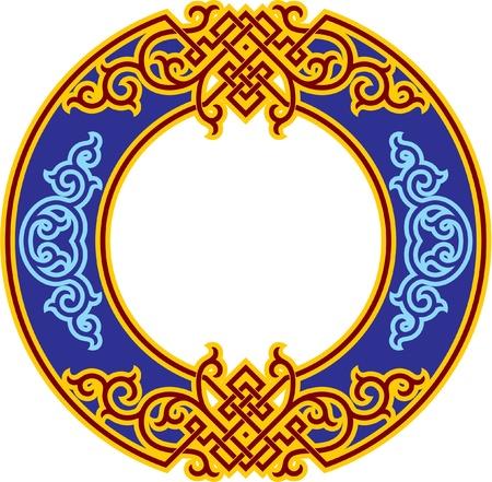 Vector Oriental Rosette - Chinese Ornament Illustration