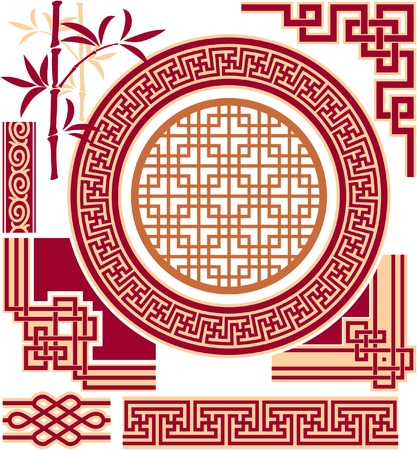 bamboo border: Set of Oriental - Chinese - Design Elements
