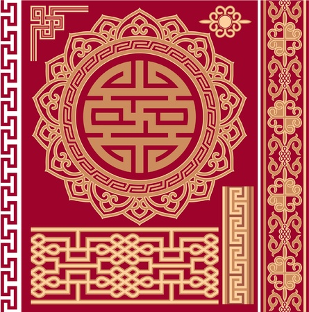 traditional background: Set of Oriental - Chinese - Design Elements
