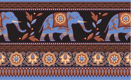 Detailed Indian - Hindu - Elephant Seamless Border Vector