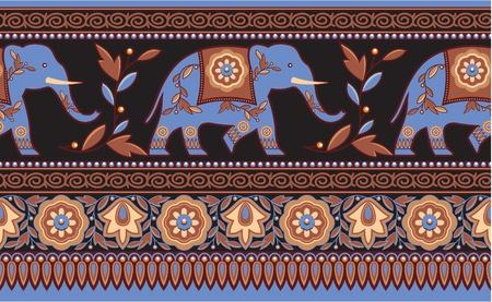indianische muster: Detaillierte indischen - Hindu - Elephant Seamless Border Illustration