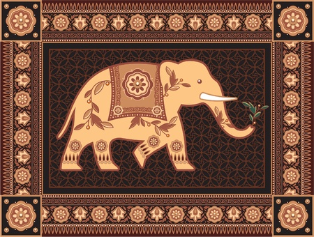 indian art: Decorated Indian - Hindu - Elephant In High Detailed Frame