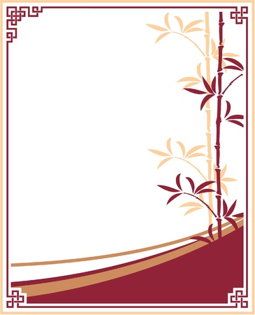 Oriental - Chinese - Template Frame with Bamboo Ilustrace