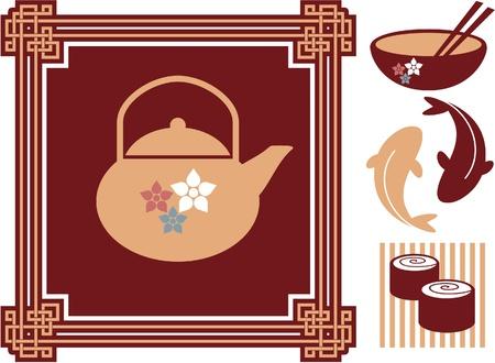Oriental - Japanese - Food Icons Banco de Imagens - 12826030