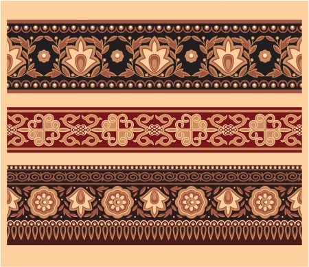 Set of Oriental Borders - Seamless Pattern Vector