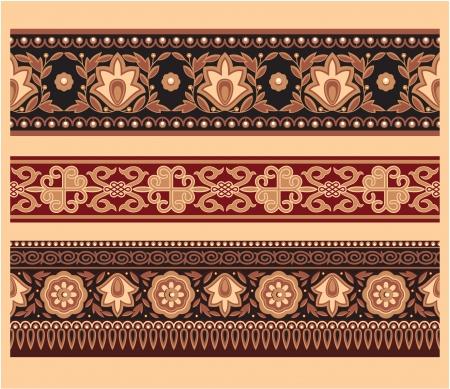 mongolian: Set of Oriental Borders - Seamless Pattern Illustration