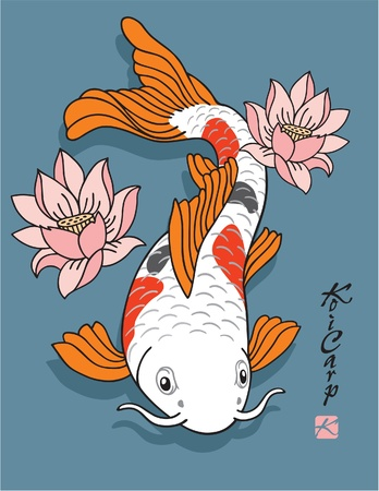 Oriental Fish - Koi Carp - with Lotus Flowers Vector