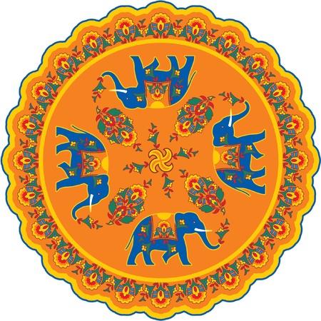 indian elephant: Indian Elephant Pattern Rosette  Illustration