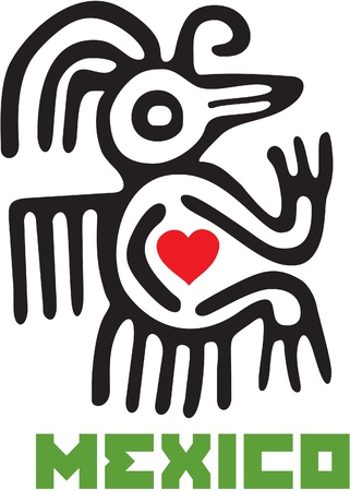 aztec art: I Love Mexico Template Design