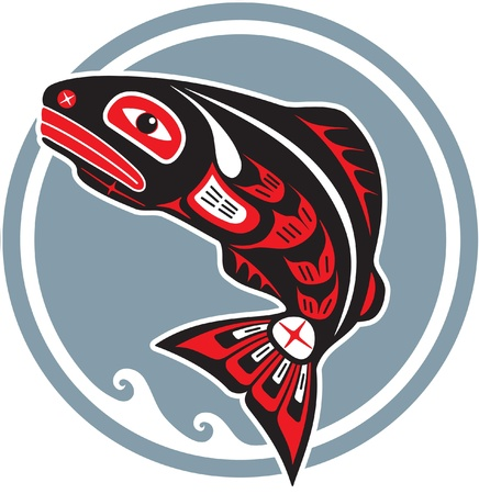 Jumping Fish - Salmon - in Native American Style Vector