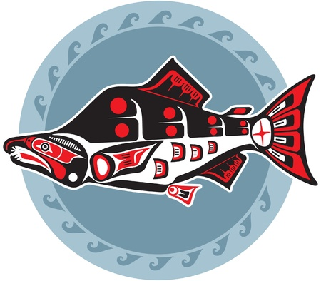 salmon fish: Fish - Salmon - In Native American Style