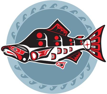 native indian: Pescado - Salm�n - En el estilo americano nativo