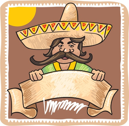 Illustration of Mexican Man with Template Sign Banner  Vector