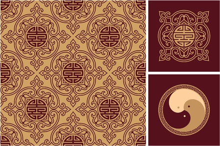 chinese knot: Set of Oriental Design Elements