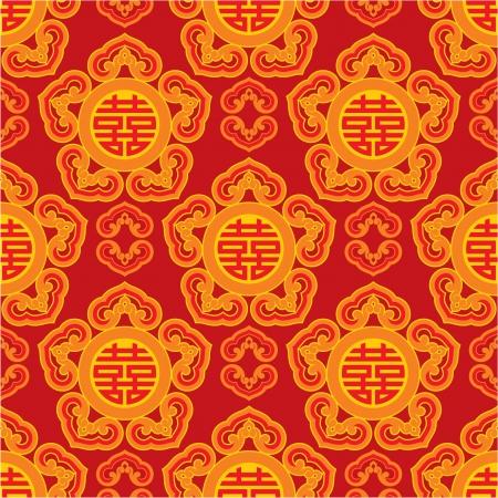 Modelo oriental perfecta con símbolo doble de la felicidad