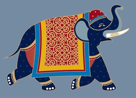 tusk: Indian Decorated Elephant Illustration